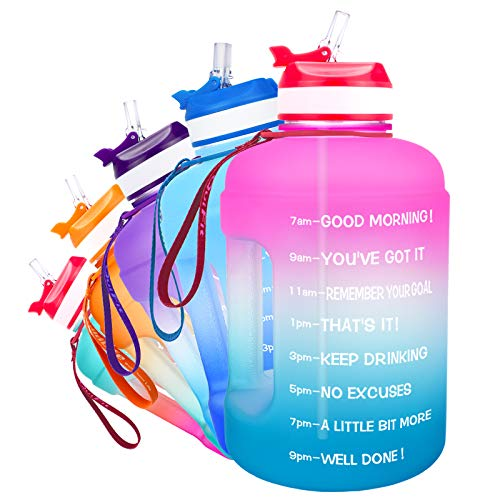QuiFit Botella de 2,2 l con estampado: Botella grande para beber con ánimo y pajita, para fitness, gimnasio, viajes, correr, a prueba de fugas, botella de agua, sin BPA, color rosa y azul, 2,2 l