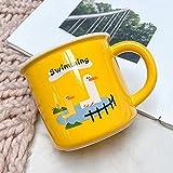 XINLAI Tazze da caffè in Ceramica Colazione Latte e Farina d'avena Tazze tè Giallo Cartone Animato Anatroccolo Bocca Larga Tazza da Ufficio Tazza da Acqua 400ML B