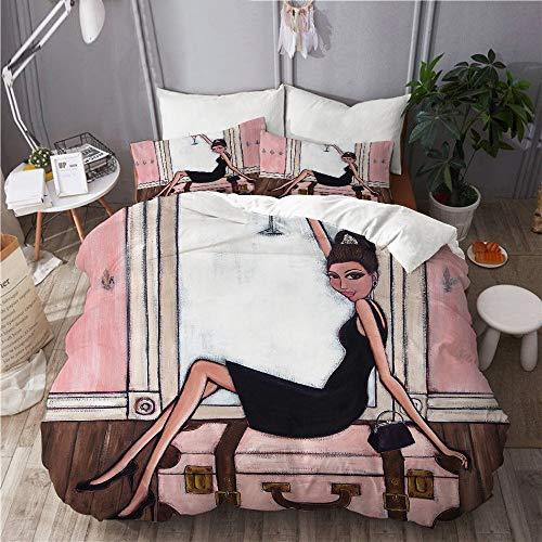 BEITUOLA Bedding Juego de Funda de Edredón,pequeño Vestido Negro Rosa Maleta Viajar Paris francés champán Dama Elegante Hembra,Microfibra Funda de Nórdico y Fundas de Almohada - 240 x 260cm