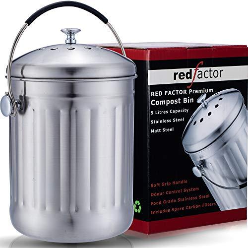 RED FACTOR Premium Seau Compost Inodore en Acier Inoxydable pour Cuisine - Poubelle Compost Cuisine - Comprend 6 Filtres à Charbon de Rechange (INOX Mat, 5 litres)