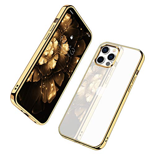 MILPROX Compatible for iPhone 12 Pro Max (2020), Clear Transparent Shockproof Shell Protective Bumper Cover with Electroplated Edge Anti-Yellow Cases - Gold