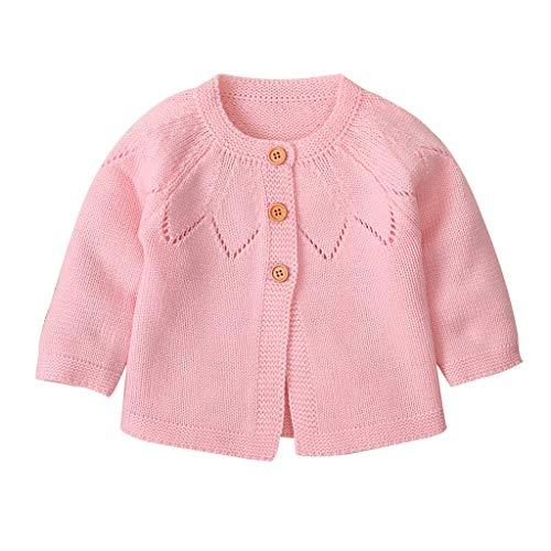 H.eternal(TM) - Chaqueta de punto para bebé o niña, para niño, jersey de ganchillo Rosa rosa 18 meses