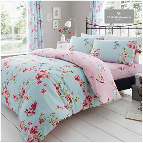 Gaveno Cavailia Luxury BIRDIE BLOSSOM Bed Set with Duvet Cover and Pillow Case, Polyester-Cotton, Blue, Double