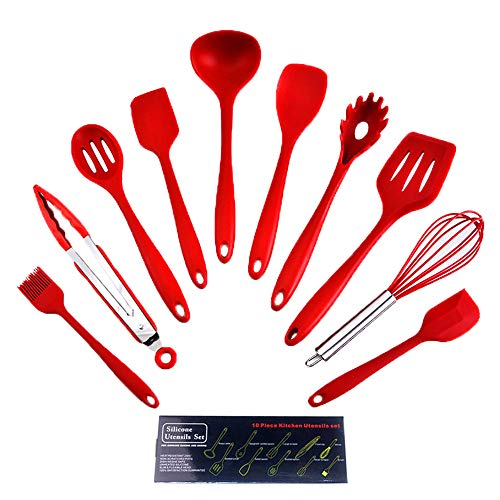 KIICN Silicone Spatula Set Kitchenware Utensils,Non-Stick Rubber Spatula Set Heat-Resistant Stainless Steel Core Spatulas Pastry Brushes and Egg Beate - 5Pcs(Red)