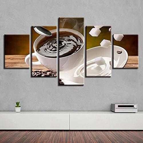 WGBHQ 150X100CM Vijf Canvas Muurschilderingen Koffie Shop Koffiebonen 5 Blok Modulair Creatief Canvas Schilderen Combinatie Muur Foto's Home Decoratie Muur Kunst Behang Zelfklevend Papier Handmatige montage Bedro A1