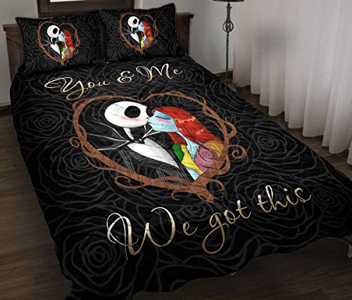 Jack and Sally We Got This Quilt Christmas Birthday Little Girls Kids Gift Best Decorative for Bedding Set, Xmas Gifts from Mom Mother Dad Daddy Father Grandma