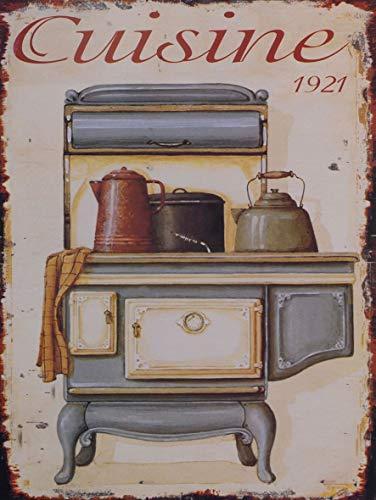 Casa Padrino Deko Zinn Schild/Blechschild Cuisine 1921 Mehrfarbig 25 x H. 33 cm - Vintage Retro...