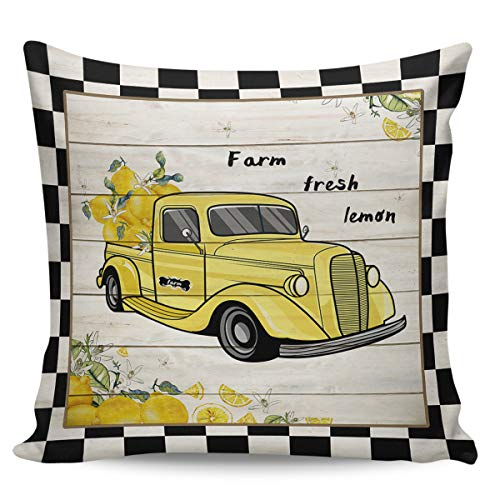 Scrummy Fundas de almohada de 66 x 66 cm, estilo granja de verano, color amarillo, retro, para llevar camiones y limones, diseño retro de grano de madera, para decoración del hogar