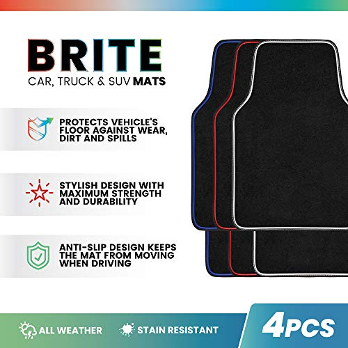 Brite Mats Auto Carpet Floor Mats for Car Truck Van SUV, Colorful Outline Design Floor Liners, Front & Rear Combo Set of 4 Pieces