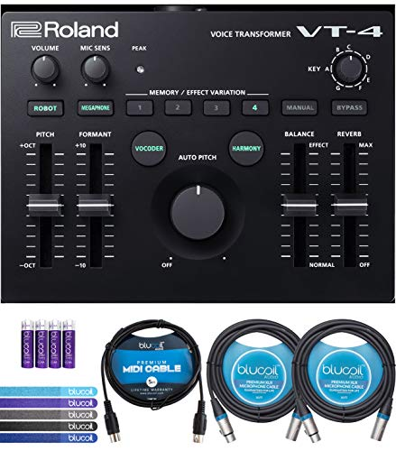 Roland VT-4 Voice Transformer Vocal Effects Processor Bundle with Blucoil 5-FT MIDI Cable, 2-Pack of Blucoil 10-FT Balanced XLR Cables, 5-Pack of Reusable Cable Ties, and 4 AA Batteries