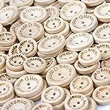 Bottoni Naturale Decorativi in Legno Bottoni 2 Fori'Handmade with Love' Cucito e Lavorazione per Il Mestiere di Cucito Scrapbooking e Fai da Te a Mano Ornamento 150 Pezzi
