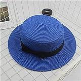 Sombreros de Verano para Mujer, Sombrero para el Sol, Playa, Moda para Mujer, con Lazo Plano, Sombreros Informales para Mujer, Sombrero de Paja para Mujer-Royal blue-2-child Size 51-54cm