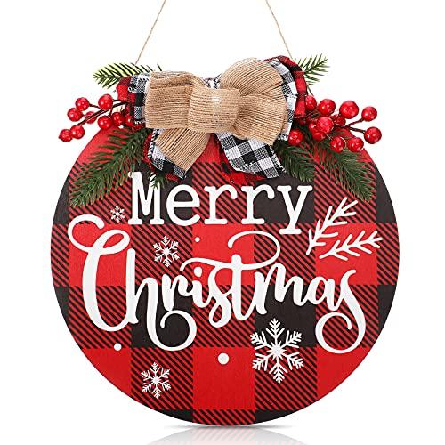 Decoracion Colgante de Merry Christmas Decoración de Pared de Feliz Navidad Corona de Cuadros de Madera Rústica Letrero Redondo de Madera para Patio Cartel de Puerta de Entrada de Granja