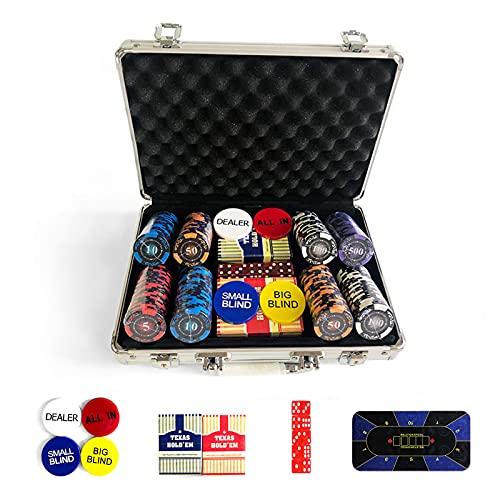 YZJJ Juego de póquer con fichas láser póquer, Incluye Distribuidor, ciega Pequeña, Big Blind Buttons,Tapete y 5 Dados