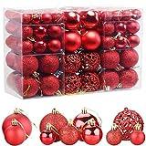 ZFYQ 100Pcs Bolas de Navidad, Juego de Adornos para Colgar Decorativos para Decoración Navideña de Arboles de Navidad, Rojo