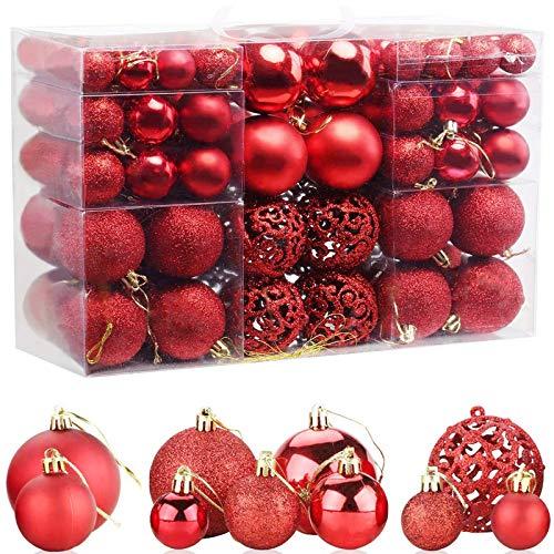 ZFYQ 100Pcs Palle di Natale, Set di Palline Decorative da Appendere per Decorazioni Natalizie per L'Albero, Rosso
