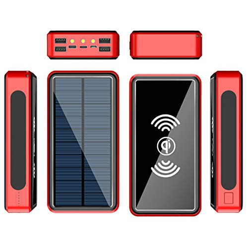 Solar Charger High Capacity Wireless Portable Charger USB C Waterproof Power Bank with 4 Outputs and LED Flashlight, Fast Charging Phone Charger, for iPhone, Ipad and Outdoor Camping,Red,30000mAh