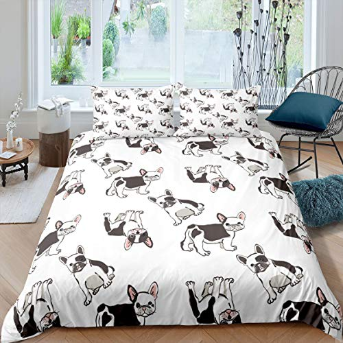 Pug Comforter Cover Set Full Size Cute Cartoon Dog Bedding Set Kids Teen Kawaii Puppy Printed Decor Duvet Cover for Boys Girls Lovely French Bulldog Pattern Soft Microfiber Bedspread with Zipper Ties