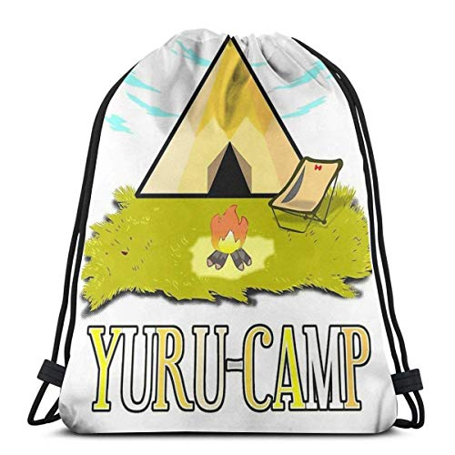 XCNGG Yurucamp. Bienvenido a Laid Back Camping Mochila Deportiva Plegable Impermeable Bolsa de Gimnasio Saco Mochila con cordón