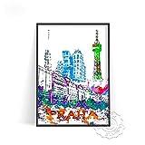 linbindeshoop Cartel de impresión de Acuarela de Ciudad Moderna Venecia Alemania Arte de Pared Las Vegas Estocolmo Budapest Cartel de impresión Sydney Londres Viajes(LT-1535) 40x60cm Sin Marco