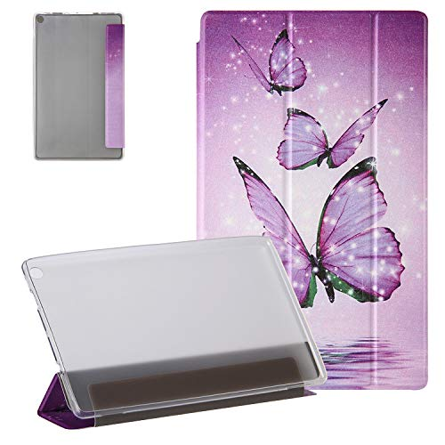 UGOcase for Kindle Fire HD 8 Tablet Case (8th/7th/6th Gen, 2018/2017/2016 Release), Slim PU Leather Trifold Stand Auto Sleep Wake Translucent Backshell for Fire HD 8' 2018/2017/2016 - Purple Butterfly