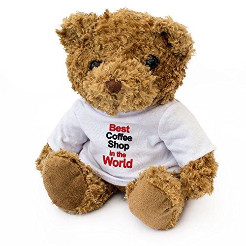 NEW - BEST COFFEE SHOP IN THE WORLD - Teddy Bear - Cute Soft Cuddly - Award Gift Present Birthday Xmas