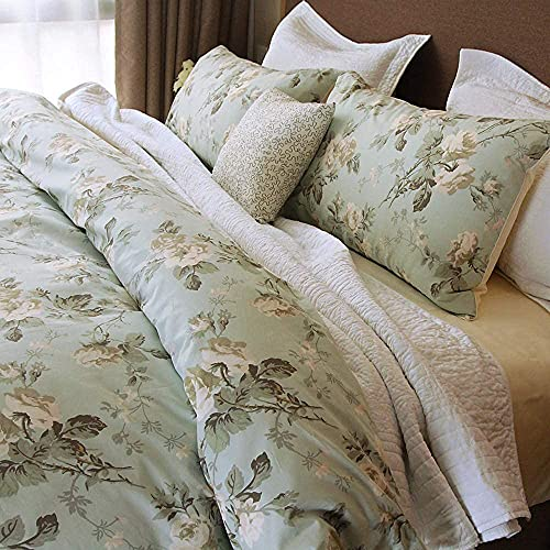 Brandream French Country Garden Toile Floral Duvet Cover King Size Bedding Set Cotton Asian Style Tapestry Chinoiserie Peony Blossom Tree Branches Multicolored Design (King,Mint Green)