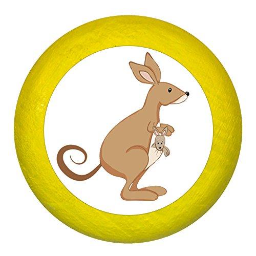 """Kommodengriff""""Känguruh"""" gelb Holz Buche Kinder Kinderzimmer 1 Stück wilde Tiere Zootiere Dschungeltiere Traum Kind"""
