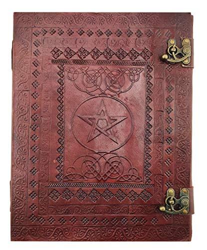 Kooly Zen Notizblock, Tagebuch, Buch, echtes Leder, Vintage, Pentagramm, Metallverschluss, Vintage, 25 cm x 33 cm, 200 Seiten, Premiumpapier