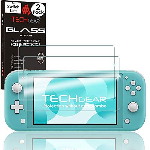 TECHGEAR [2 Stück] Switch Lite Panzerglas schutz - Displayschutzfolie aus gehärtetem Glas (Runde Kante) [9H Härte] [Crystal Clarity] [Kratzfest] [Nein-Bläschen] kompatible mit Nintendo Switch Lite