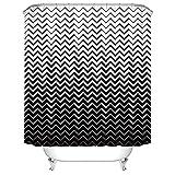 XCBN Tende da doccia Decorative a strisce Bianche Nere Tenda da bagno Tenda da doccia in Tessuto Tenda da bagno impermeabile A1 150x200cm