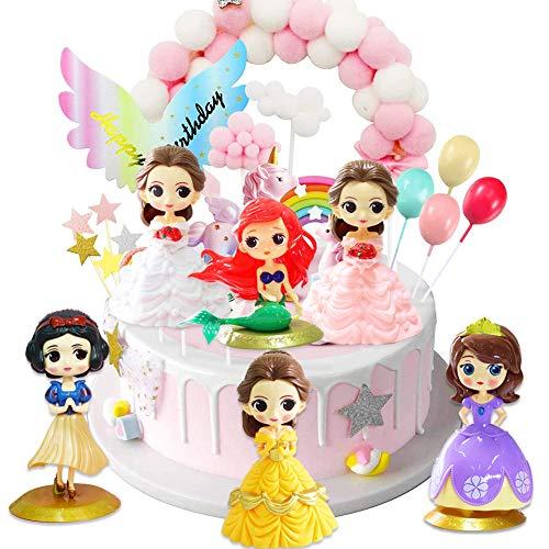 Toppers para Tartas,6pcs Princesa Cake Topper Caricatura Cumpleaños Topper de Tarta Decoración Suministros Bai Xue/Sofía Doll Modelos Baby Shower Fiesta de Cumpleaños Pastel Decoración Suministros