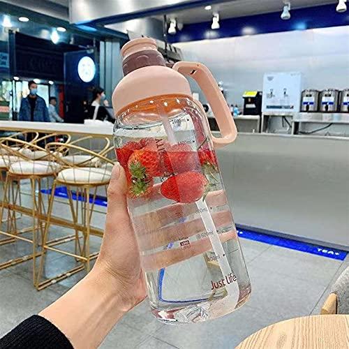 GHJGHJ Copa de Espacio Deportes Aptitud súper Grande Botella de Agua Gran Capacidad al Aire Libre portátil plástico Taza de Agua con Taza de Agua de Paja (Capacity : 1.8L, Color : Tritan Pink)