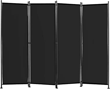 Giantex 4 Panel Room Divider, 5.6 Ft Folding Privacy Screen with Adjustable Foot Pads, Home Office Freestanding Tall Partitio