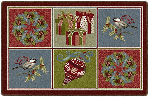 Brumlow MILLS Festive Blocks Washable Christmas Indoor or Outdoor Holiday Rug for Living or Dining Room, Bedroom and Kitchen Area, 30'' x46, Multi (EW20553-30X46BH)