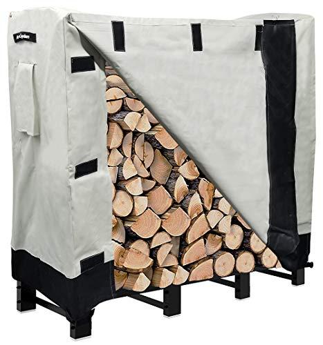 Artibear Firewood Rack Cover for 4ft Log Stand Holder Indoor Outdoor Storage Log Holder Wood Pile Storage Stacker Organizer Pale Khaki Frame not include