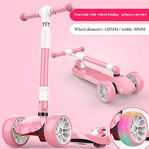 SYCHONG Scooter Plegable para niños, con Ruedas Intermitentes (13.5Cm * 5Cm, 4 Alturas Ajustables, dirección por Gravedad, Ideal para niños Mayores de 3 años, Capacidad de 80 kg,A1