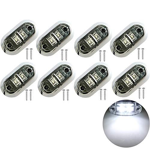 PolarLander 8pcs / Set 12V 24V Blanc LED Côté Avant Arrière Marqueur Camion léger Remorque Van Caravane Petites Lumières Bord Lumières De Voiture Style Blanc