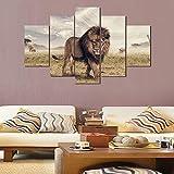 Gaetooely Póster de pintura HD 5 piezas/set de animales león, impresión de arte modular de pared para decoración del hogar habitación de los niños