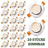 Hengda LED Einbauleuchten Dimmbar 20x 7W 230V LED Spots 560lm LED Einbaustrahler IP44 Warmweiß LED Deckenstrahler Wohnzimmer Deckenleuchte Bad Deckeneinbauleuchte