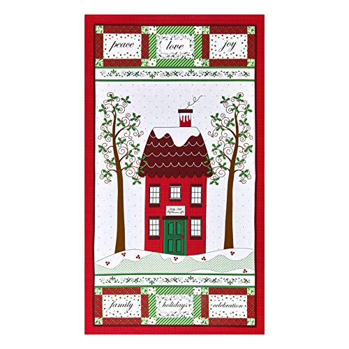 Henry Glass Holly Hill Christmas 24in Panel Red Quilt Fabric