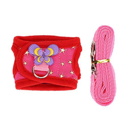 ViaGasaFamido Haustier Brustgurt Set, verstellbares kleines Haustier Ourdoor Leash Harness Set mit Zugseil Kleintier Walking Training Brustgurt Traktionsweste(Rot L.)