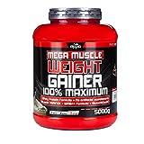 BWG Mega Muscle Weight Gainer 100% Maximum - perfekt für HardGainer und Massephasen – Kraftaufbau - Mega Chocolate - Dose mit Dosierlöffel - (1x 5000g Dose)