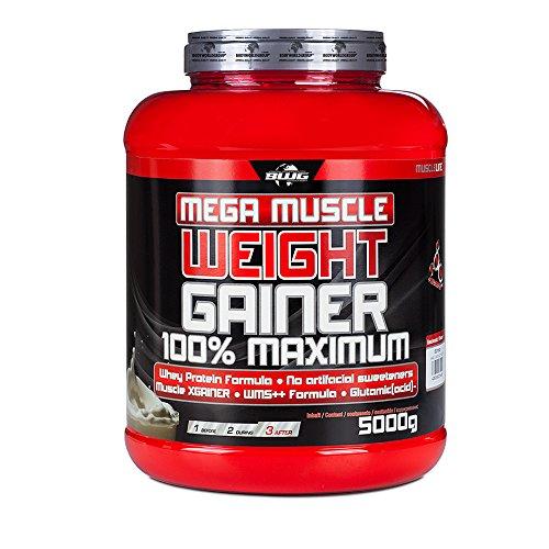 BWG Mega Muscle Weight Gainer 100% Maximum - perfekt für HardGainer und Massephasen – Kraftaufbau - Mega Cookies & Cream - Dose mit Dosierlöffel - (1x 5000g Dose)