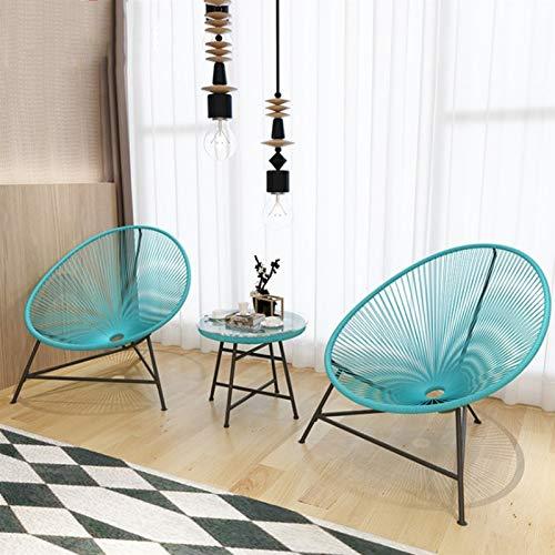 Silla al Aire Libre Rattan Lounge Silla 3 Piezas Set de bistró de 3 Piezas Terraza Muebles de Vidrio Top Oval Comfort Series (Color : Blue)