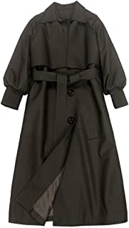 Women's Loose Long Windbreaker Section Over The Knee Leather Coats Lapel Collar Long Coats