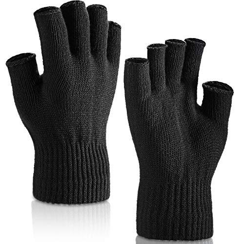 SATINIOR 2 Pares de Guantes sin Dedos de Muñeca Guantes de Mitad Manoplas sin Dedos para Adultos y Niños (Negro)