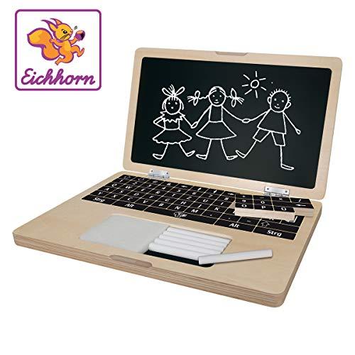 Eichhorn 100002575 - Holzlaptop mit Puzzle, 14-teilig, Bildschirmfläche zum Beschreiben mit Kreide - Tastatur bestehend aus 6 Puzzleteilen - 32x20 cm, inkl. 6 Kreiden und Schwamm