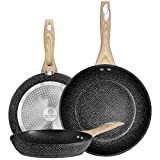 COTEY 8.5 & 10 & 12 Inch Frying Pans Set, Nonstick Grill Skillet with Stone Derived Coating - Induction Cooking Omelette Pans - PFOA Free