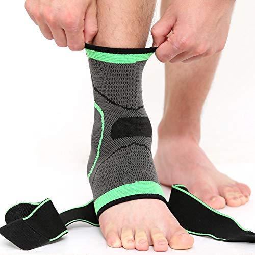 TZTED Sprunggelenkbandage mit Klettverschluss, stützt den Fuß beim Sport wie Handball, Fußball, für Damen Herren Fussgelenkbandage Fußgelenkstütze Fersensporn,Green,M(35~37)